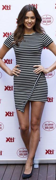 Who made Irina Shayk's black stripe dress that she in Madrid on May 9, 2014?