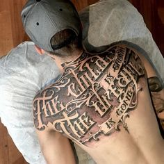Font back tattoo - 100 Awesome Back Tattoo Ideas