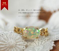ホワイトオパール×ローズカットダイヤリング「ティシュ」 そのホワイトオパールはオーロラが浮遊し、湧き上がるようにその景色を変えるよう。  10月の守護石、誕生石のオパール。オパールには、様々なカラーや発色があります。 Making Ideas, Opal, Jewelry Making, Bling, Stud Earrings, Gemstones, Crystals, Clothes, Month Gemstones