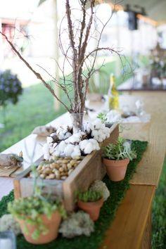 Fall Wedding Centerpieces; Winged Elm, Cotton, Peanuts, Succulents, Miss, Wood Box; Southern Wedding; Oak Level Farm