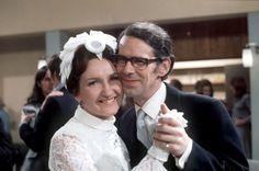 Coronation Street's Emily Nugent (Eileen Derbyshire) marries Ernest Bishop (Stephen Hancock) in 1972