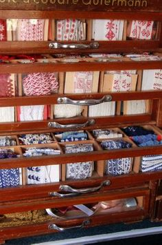 Wow! Antique cabinet filled with vintage ribbon.