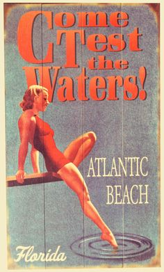 Atlantic Beach Florida, Florida Beaches, Vintage Beach Signs, Movie Posters, Atlantic Beach Fl, Film Poster, Popcorn Posters, Film Posters