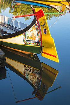 Colorful hand painted stern of Gondola like Moliceiro, Aveiro, Beira, Portugal