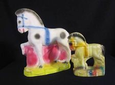 Pair of Vintage Carnival Chalkware Circus Horses Figurines Statues