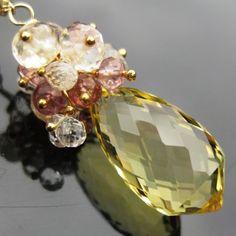 Lemon quartz necklace 14k gold fill by seafairiesjewelbox on Etsy, $138.00
