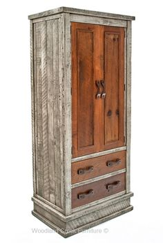 Reclaimed Wood Armoire in Gray.  Any of our barn wood designs can have the unique gray/brown combination. Visit www.woodlandcreekfurniture.com to see over 1,500 unique furniture designs.