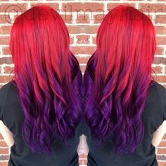 Red to purple sunset hair ombré, done using Pravana Vivids.