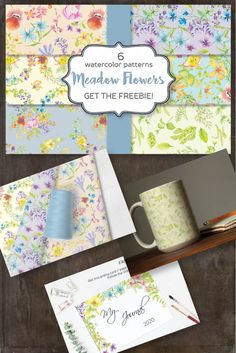 Set of 6 patterns designed with bright wild flowers. Available in my shop for $2.50 #patterns #digitalpaper #watercolorpaper #fieldflowers #wildflowers #meadowflowers Meadow Flowers, Wildflowers, Watercolor Pattern, Pretty Cards, Pattern Design, Delicate, Bright, Templates, Patterns