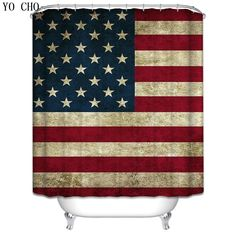 3D Waterproof Shower Curtain American flag Bathroom Products Polyester Unique World Map Cloth Fabric Washable Bath Curtain Hooks