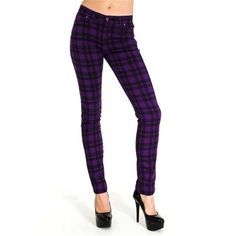 Geruite tartan stretch skinny jeans unisex paars/zwart - Punk Emo