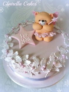 The Sugar Plum Fairy Christmas Cake - design based on Forever Friends Teddy Bear. Everything is edible & hand crafted from sugar by Clairella Cakes.