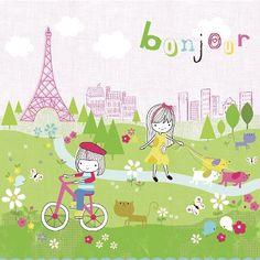 Oopsy Daisy too Bonjour Paris Canvas Wall Art