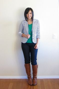 green tee / dark wash blue jeans / cognac brown boots / navy and white striped blazer / silver necklace