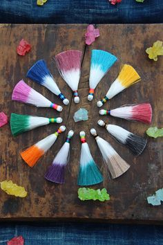 "Multi Color Dip Dye Ombré Silky Luxe Tassel, Handmade Designer Jewelry Making Supply, 3.5"", Summer, Fall Fashion, Fringe Trend, 1 Tassel"