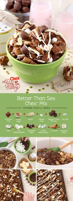 Homemade Better Than Sex Chex Mix has all of our holiday favorites: chocolate, caramel, marshmallows, and peanut butter cups. We'll toast to that! (recipe of chocolate peanut butter) Snack Mix Recipes, Dessert Recipes, Cooking Recipes, Snack Mixes, Healthy Recipes, Delicious Desserts, Yummy Food, Christmas Baking, Holiday Recipes
