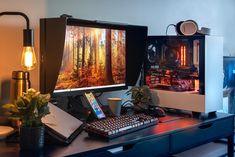 Good Gaming Desk, Computer Setup, Pc Setup, Desk Setup, Microsoft Surface, Logitech, Video Editing, Monitor, Room Decor