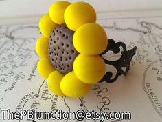 Polymer clay sunflower filigree ring FREE by ThePBJunction on Etsy, $12.00
