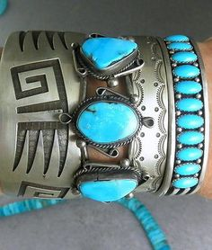 RARE-Navajo-Fresh-Clear-BLUE-Sleeping-Beauty-Turquoise-Row-Cuff-Bracelet: