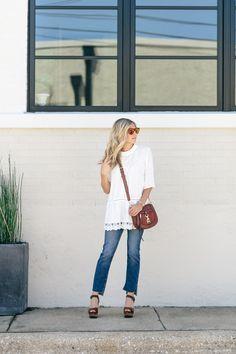 lace peasant top - nordstrom sale - frame denim jeans - rebecca minkoff saddle bag - dallas fashion blogger - brooke burnett
