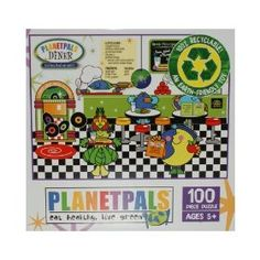 """PlanetPals Eat Healthy Live Green DINER Recycled Puzzle 100 Pieces      Product Features  Finished Size: 15"""" X 11""""  Pieces: 100  Manufacturer: Ceaco  Recommended Age: 3+  Artist: Judith Gorgone www.Planetpals.com"""
