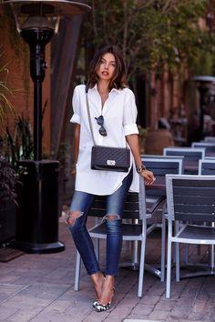 spring / summer - street chic style - white long shirt + cat eye sunglasses + black quilted crossbody bag + dark denim skinnies + black and white geometric print stilettos
