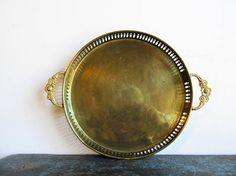 Vintage Brass Gallery Tray, Hollywood Regency Tray, Brass Serving Tray, Vintage Barware, SALE #brass #hollywoodregency #midcentury #vintagedecor #serving #brass