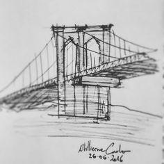 Sintesis • Brooklyn Bridge . Dias 178... #desenhosdoalti #desenhos #sketch #sketchers #sketchbook #art #artlovers #artbrazil #artworks #instaart #instartist #illustration #UmDesenhoPorDia #Weekend #dibujo #draw #drawing #iLike #pen #Arquitetura #Urbanismo #Engenharia #Bridge #Brooklyn #Sintesis #City