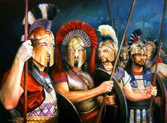 Hoplitas espartanos y tespios en Las Termópilas, cortesía de Chris Collingwood. http://www.elgrancapitan.org/foro/viewtopic.php?f=87&t=16979&p=894392#p894053