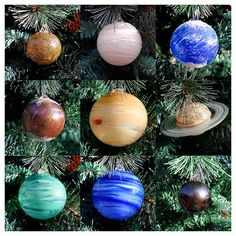 Blown Glass Solar System Ornament Set, 9 Planets with Sun!