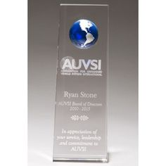 "Our Blue Globe Tower Trophy features a blue globe at the top of a clear crystal tower engraving area.  K9236 is 8"" tall and includes free personalized engraving."