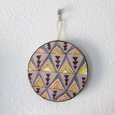 """""""Purple Tribal Triangle Circle Ornament"""" by #katnawlins on #etsy, $9.00 - #triangles #tribal #gift #art #funky #colorful #grey #purple #geometric"""