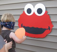 Elmo Birthday Party: Pin the Nose on Elmo Made with Colored Construction Paper