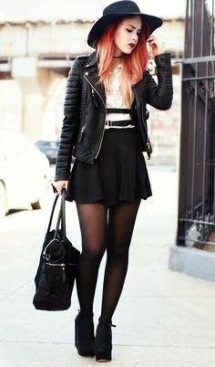 Ideas For Clothes Hipster Punk Tights Rock Outfits, Grunge Outfits, Casual Outfits, Cute Outfits, Fashion Outfits, Womens Fashion, Casual Heels, Dress Fashion, Fashion Boots