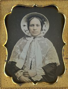 Lady in a bonnet and lace shawl   1/9 plate daguerreotype