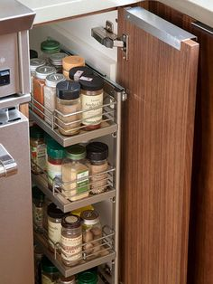 Organized spices in the cupboard :: OrganizingMadeFun.com