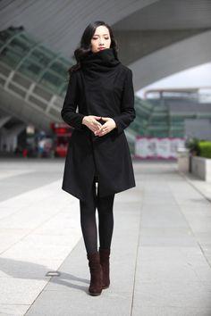 Black Asymmetric Wool Coat High Collar Wool Jacket Winter Wool Coat for Women - NC498