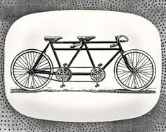 Bicycle built for two melamine platter by TheMadPlatters on Etsy