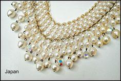 Vintage Japan Faux pearl and Crystal  Bib by serendipitytreasure, $20.00