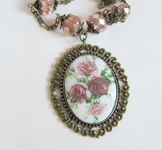 Flower cameo necklace with crystals, by romanticcrafts, $23.00