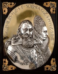 Silver plaque with portrait of Duke Philip II of Pomerania and his wife Sophia of Schleswig-Holstein by Jan de Vos, 1614, Herzog Anton Ulrich-Museum, Braunschweig