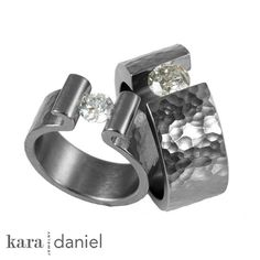 upcycled diamonds ~ tension-set in hammered stainless wedding rings. by kara | daniel, via Flickr