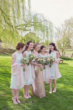 Mint Pink Bridesmaid Dresses Short Home Made Countryside Spring Wedding Sequin Gold Dress Oxford http://www.cottoncandyweddings.co.uk/