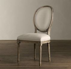 Vintage French Round Upholstered Side Chair - traditional - dining chairs and benches - other metro - Restoration Hardware Diy Chair, Chair, Side Chairs, Swinging Chair, Restoration Hardware Dining Chairs, Upholstered Side Chair, Vintage Chairs, Upholstered Chairs, Contemporary Dining Chairs