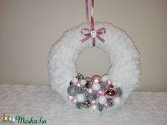 Karácsonyi ajtódísz rózsaszín (Lahome) - Meska.hu