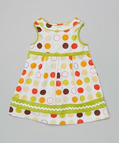 Take a look at the Green & Orange Dot A-Line Dress - Toddler & Girls on #zulily today!