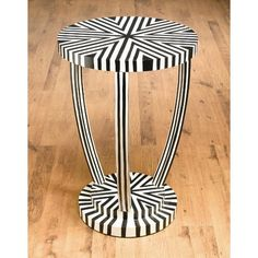 AA Importing Lamp Table in Distressed Black and White - 45548-BW