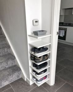 Shoe Storage Our house has a really small entryway meaning theres not much room for things like shoe. ideas small stairs Shoe Storage Our house has a really small entryway meaning theres not much room for things like shoe… Diy Shoe Rack, Shoe Racks, Small Shoe Rack, Diy Shoe Storage, Storage For Shoes, Front Door Shoe Storage, Garage Shelving, Shoe Storage Kitchen, Diy Shoe Organizer