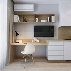 31 White Home Office Ideas To Make Your Life Easier; home office idea;Home Office Organization Tips; chic home office. Cozy Home Office, Home Office Space, Home Office Design, Home Office Decor, House Design, Office Ideas, Home Decor, Office Designs, Small Office