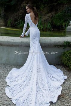 2014 Long Sleeve Lace Mermaid Backless Wedding Dresses White Sweep Train Sheath Church Vintage Castle Garden V Back Get Free Veil Newest